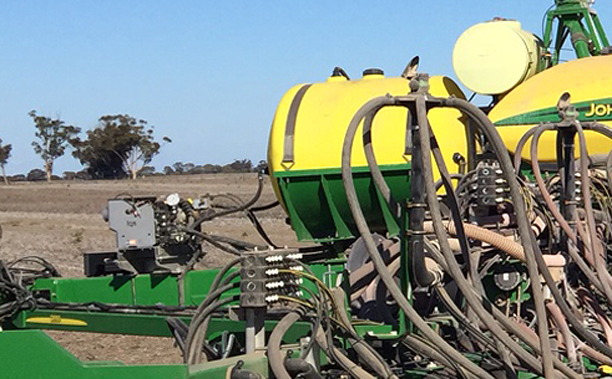 Closer view of the PR-1 mounted on the planter. You can also see the dual Stacker configurations in the foreground